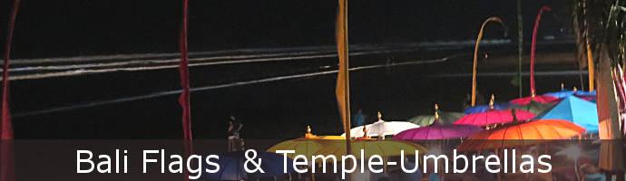 Balifahnen und Tempelschirme