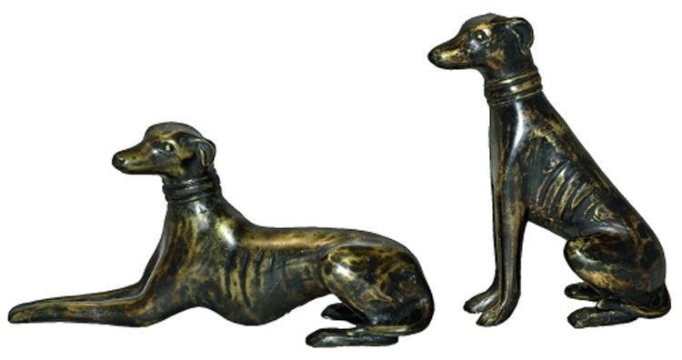 Hunde liegend u. sitzend, 2er Set,  kleine Ausführung