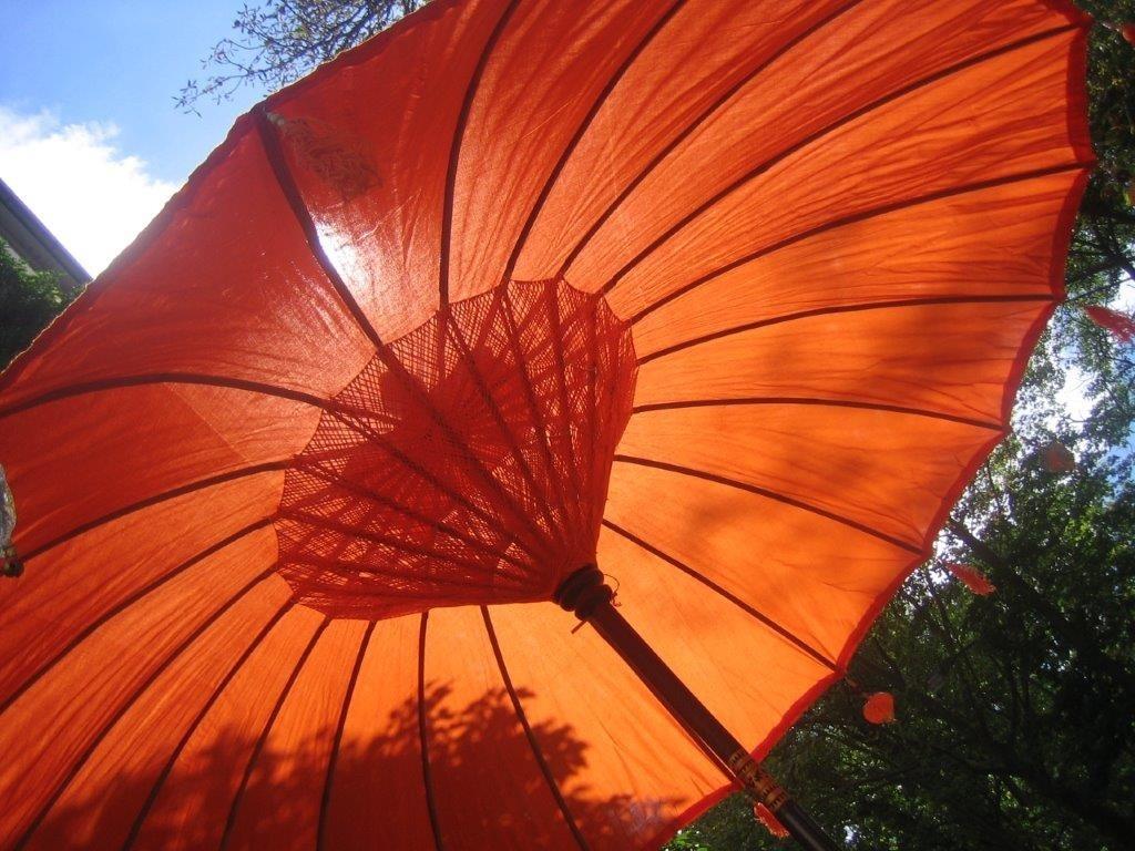 NEU, Sonnenschirm in Orange, ca. 250 cm Durchmesser