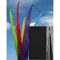 Fahne schwarz einschl. Teleskopstange, 300 cm