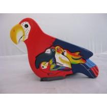 Puzzle Papagei, handbemalt