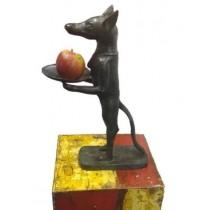 Hund mit Schale /Anubis, 42 cm hoch