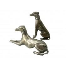 Windhund Paar, liegend u. sitzend, 2er Set, kleine Ausführung