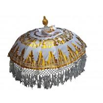 Tempelschirm, ca. 80 cm, Weiss mit Golddruck