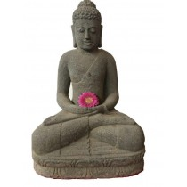 sitzender Buddha aus Naturstein