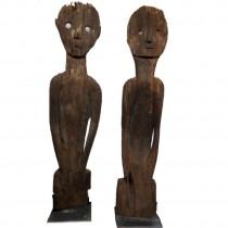 Wächterfiguren Paar aus West Borneo, 20. Jahrhundert