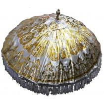 Sonnenschirm, ca. 180 cm, Weiss mit Golddruck